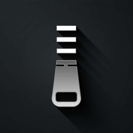 Silver Zipper icon isolated on black background. Long shadow style. Vector Illustration.