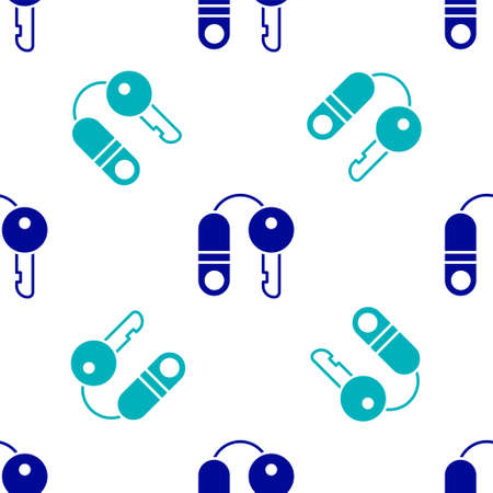 Blue House with key icon isolated seamless pattern on white background. The concept of the house turnkey. Vector Illustration.