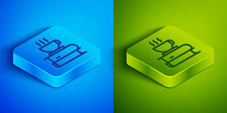 Isometric line Coffee cup and book icon isolated on blue and green background. Tea cup. Hot drink coffee. Square button. Vector Illustration.