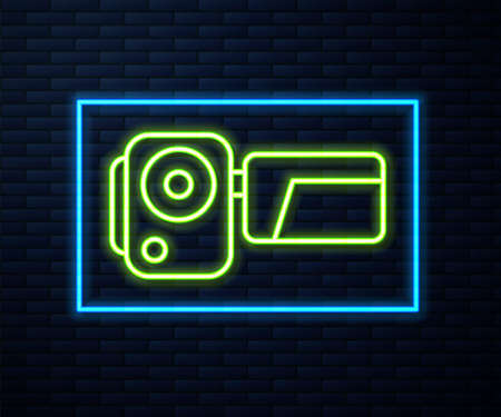 Glowing neon line Cinema camera icon isolated on brick wall background. Video camera. Movie sign. Film projector. Vector Illustration.