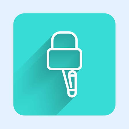 White line Lockpicks or lock picks for lock picking icon isolated with long shadow. Green square button. Vector Illustration. Ilustração