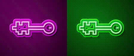 Glowing neon line Old key icon isolated on purple and green background. Vector Illustration. Illustration