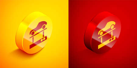 Isometric Repair car on a lift icon isolated on orange and red background. Repair of the underbody, suspension, wheels and engine. Circle button. Vector Illustration.