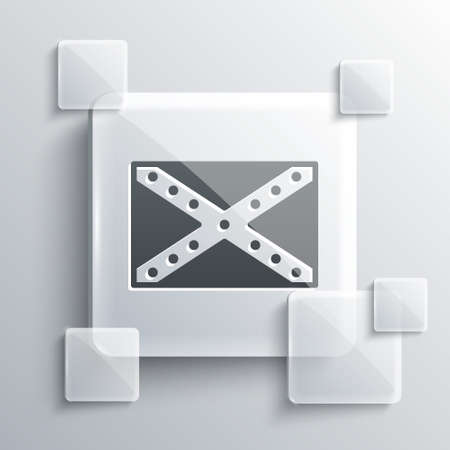 Grey National flag of the Confederate States of America icon isolated on grey background. Square glass panels. Vector Illustration.