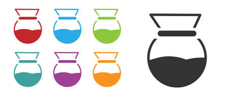Black barista  icon isolated on white background. Alternative methods of brewing coffee. Coffee culture. Set icons colorful. Vector Illustration. Ilustrace