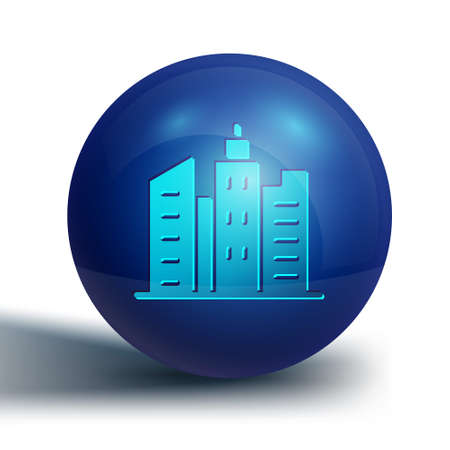 Blue City landscape icon isolated on white background. Metropolis architecture panoramic landscape. Blue circle button. Vector Illustration.