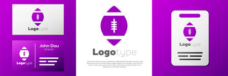 Logotype American Football ball icon isolated on white background. Rugby ball icon. Team sport game symbol. 向量圖像