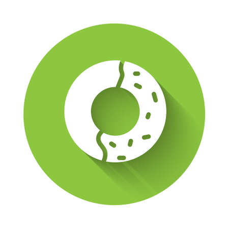 White Donut with sweet glaze icon isolated with long shadow. Green circle button. Vector Illustration.