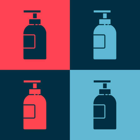 Pop art Hand sanitizer bottle icon isolated on color background. Disinfection concept. Washing gel. Alcohol bottle for hygiene. Vector Illustration.