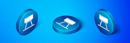 Isometric Pommel horse icon isolated on blue background. Sports equipment for jumping and gymnastics. Blue circle button. Vector Illustration.