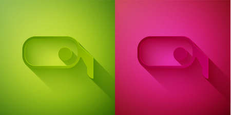 Paper cut Car rearview mirror icon isolated on green and pink background. Paper art style. Vector Illustration.
