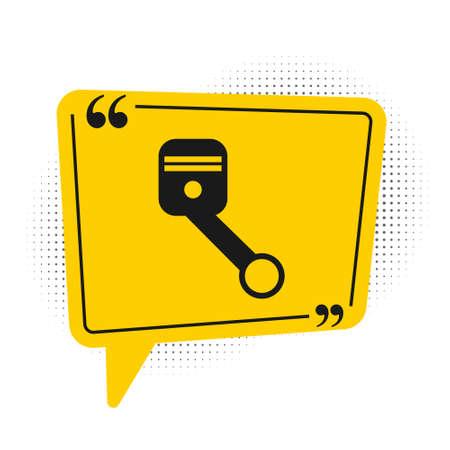 Black Engine piston icon isolated on white background. Car engine piston sign. Yellow speech bubble symbol. Vector Illustration.