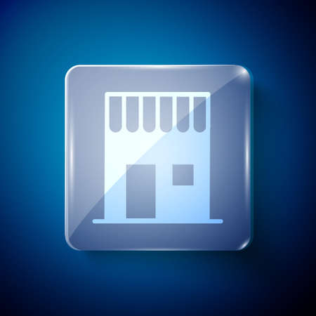 White Coffee shop icon isolated on blue background. Square glass panels. Vector Illustration.