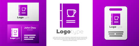 Logotype Coffee book icon isolated on white background.