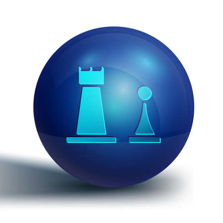 Blue Chess icon isolated on white background. Business strategy. Game, management, finance. Blue circle button. Vector Illustration. Illustration