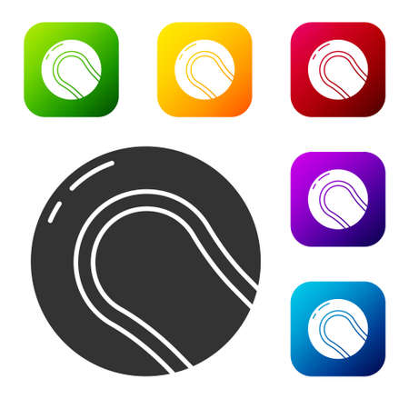 Black Baseball ball icon isolated on white background. Set icons in color square buttons. Vector Illustration.