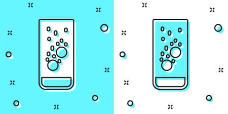 Black line Effervescent aspirin tablets dissolve in a glass of water icon isolated on green and white background. Random dynamic shapes. Vector Illustration.