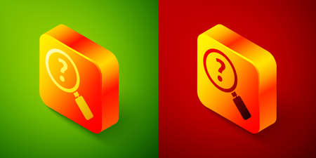 Isometric Unknown search icon isolated on green and red background. Magnifying glass and question mark. Square button. Vector Illustration.