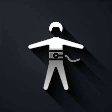 Silver Bungee jumping icon isolated on black background. Long shadow style. Vector Illustration.