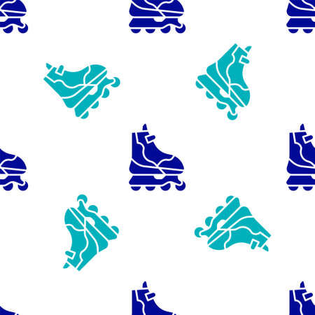Blue Roller skate icon isolated seamless pattern on white background. Vector Illustration