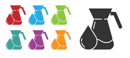 Black Jug glass with water icon isolated on white background. Kettle for water. Glass decanter with drinking water. Set icons colorful. Vector Illustration.