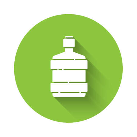 White Big bottle with clean water icon isolated with long shadow. Plastic container for the cooler. Green circle button. Vector Illustration.