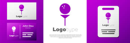 Logotype Golf ball on tee icon isolated on white background.