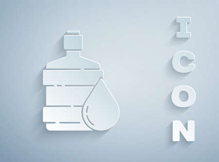 Paper cut Big bottle with clean water icon isolated on grey background. Plastic container for the cooler. Paper art style. Vector Illustration.