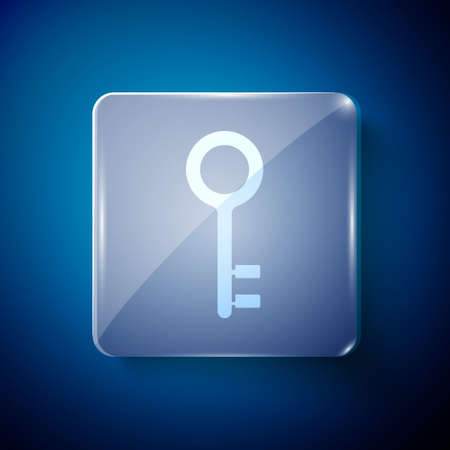 White House key icon isolated on blue background. Square glass panels. Vector Illustration.