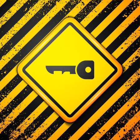 Black Key icon isolated on yellow background. Warning sign. Vector Illustration.