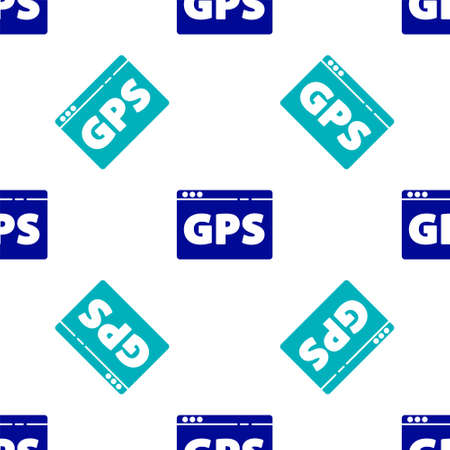 Blue Gps device with map icon isolated seamless pattern on white background. Vector Illustration.