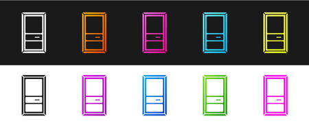 Set Closed door icon isolated on black and white background. Vector Illustration. Illustration