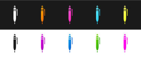 Set Pen icon isolated on black and white background. Vector Illustration.
