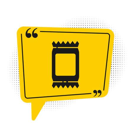 Black Fertilizer bag icon isolated on white background. Yellow speech bubble symbol. Vector Illustration.