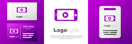 Logotype Online play video icon isolated on white background. Smartphone and film strip with play sign.