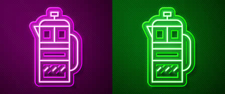 Glowing neon line French press icon isolated on purple and green background. Vector Illustration