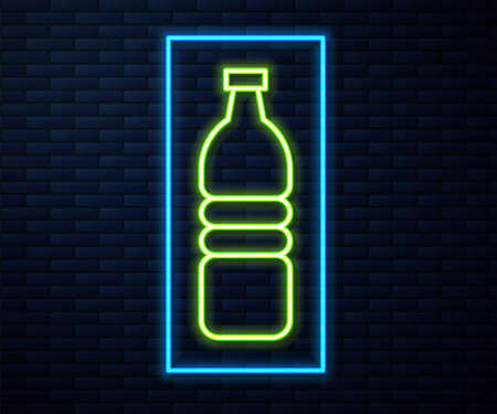 Glowing neon line Bottle of water icon isolated on brick wall background. Soda aqua drink sign. Vector Illustration