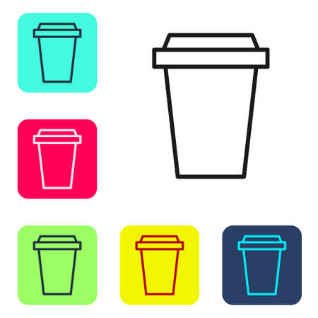 Black line Coffee cup to go icon isolated on white background. Set icons in color square buttons. Vector Illustration