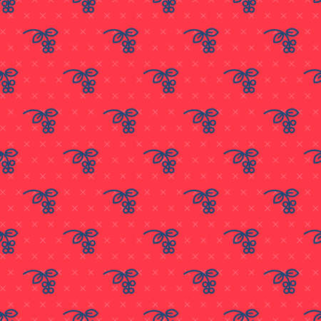 Blue line Coffee bean, branch with leaf and berry icon isolated seamless pattern on red background. Plant with leaf, berry, fruit, seed. Vector Illustration.