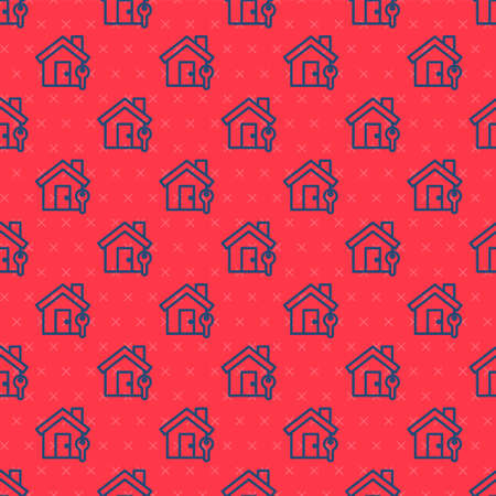 Blue line House with key icon isolated seamless pattern on red background. The concept of the house turnkey. Vector Illustration.