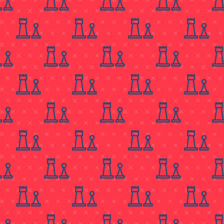 Blue line Chess icon isolated seamless pattern on red background. Business strategy. Game, management, finance. Vector Illustration.
