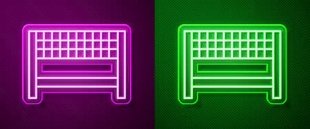 Glowing neon line Ribbon in finishing line icon isolated on purple and green background. Symbol of finish line. Sport symbol or business concept. Vector Illustration.