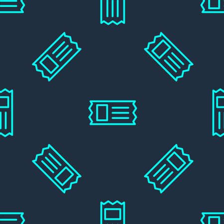 Green line Cinema ticket icon isolated seamless pattern on blue background. Vector Illustration. Illustration
