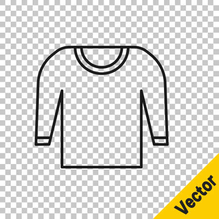 Black line Sweater icon isolated on transparent background. Pullover icon. Vector Illustration. Фото со стока - 148086727