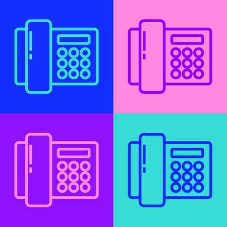 Pop art line Telephone icon isolated on color background. Landline phone. Vector Illustration.