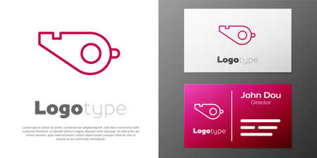 Logotype line Whistle icon isolated on white background. Referee symbol. Fitness and sport sign.