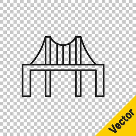 Black line Golden gate bridge icon isolated on transparent background. San Francisco California United States of America. Vector Illustration.