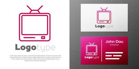 Logotype line Retro tv icon isolated on white background. Television sign. 向量圖像
