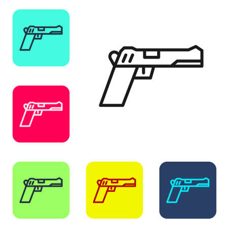 Black line Pistol or gun icon isolated on white background. Police or military handgun. Small firearm. Set icons in color square buttons. Vector Illustration.
