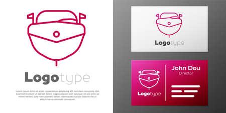 Logotype line Speedboat icon isolated on white background.